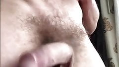 Hot hairy verbal guy with big low hangers wanks