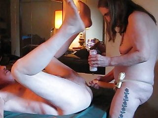 My husband made me fuck his Strapon fucking my husband man pussy eat his ass,milking