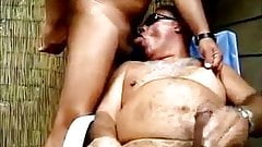 He blows a big load while he is sucking his friends cock