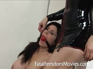 Femdom gag Wet latex dildo shower fuck with ball gag and ashely renee