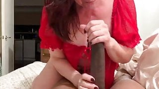White Step Mom Worships Young Hung Black Man's Cock. Milf Lover
