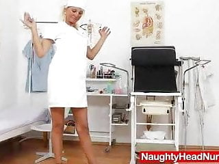 Girl in anal spreader - Cute wife nurse plays plus the pussy-spreader