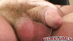 Fat mature amateur jerks his small cock and cums solo