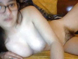 Asian playing pussy Asian with hairy pussy and big natural tits plays solo