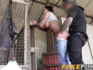 Horny Brunette With Sexy Ass And Big Tits Fucked By Cop