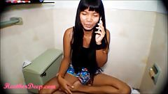 Heather Deep talks to boyfriend on phone while deepthroat