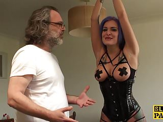 Big tit ass latex British sub facefucked and ass fingered