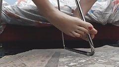 stockings nylon and fishnet heel bare feet and dildo footjob
