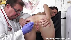 Young MILF's pussy examined by kinky doctor