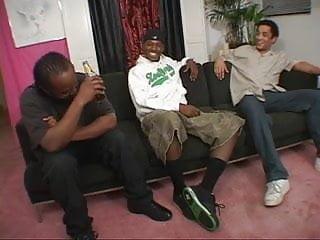 Black gangbang blowjob White chick takes on 3 big black cocks