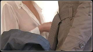 see through and opened Blouse - the laundromat