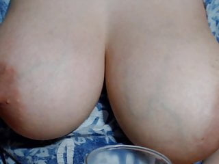 Glass lamp milk vintage - Milking her big breasts in a glass full of breast milk