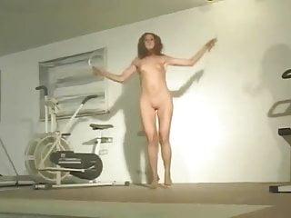 Vintage roping saddle Naked womanjumping rope