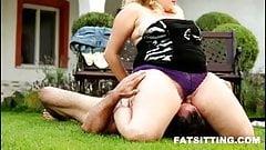 BBW facesitting bitch Kristy makes her slave cum