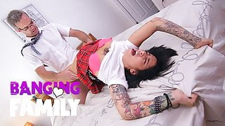 Banging Family - Step-Daddy Teaches Inked Schoolgirl a Nasty