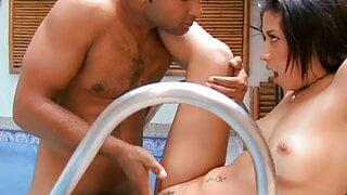 Kinky Latina whore fucking by the pool