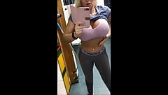 Milf flashes after workout