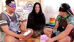 ABDL adult diaper guessing game blindfolded