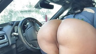 Woman masturbates and talks dirty in her car and cabin