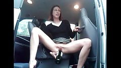 Milf with bottle in car