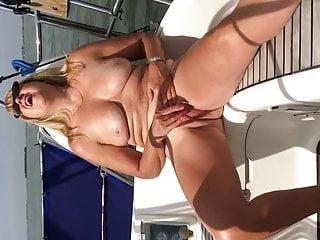 38d tits boating - Big titted boat masturbation