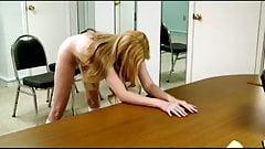 Blonde Belle Bella Bends-over Bare Belted by Big Bro Brent