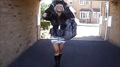Silver Fox Fur Hoody coat & Fox fur Bag .