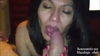 Arab step mom sucks cock and rubs her face with it