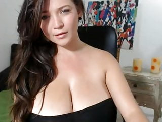 Monster huge breasts Young webcam girl plays with her huge breasts