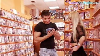 Euro femdom MILF and blonde babe pegging pervy husband