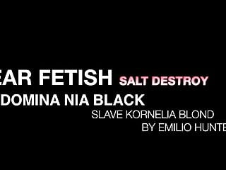Salt test strip Ear fetish salt destroy - domina nia black slave kornelia