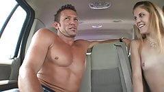 Horny guy gets his tool blown by eager slut inside his mini van