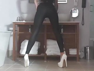Free stripper shows - Stripper shows off black leggings