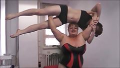 Female Wrestling. Anna Konda beat, dominate and lift a Girl.