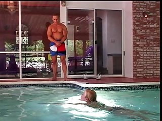 Hot fucking in the pool - Hot blonde gets pussy licked fingered and fucked by the pool