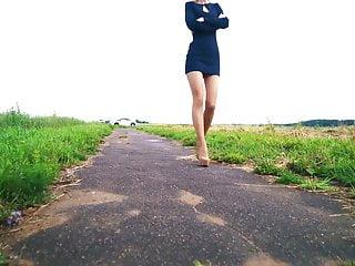 Hot teen in high heel - Very hot russian teen in short dress, nylon, high heels