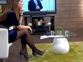 Nylon leg mature Long legs in black pantyhose on tv 2