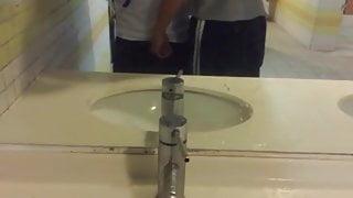 twink caught jerking in public bathroom