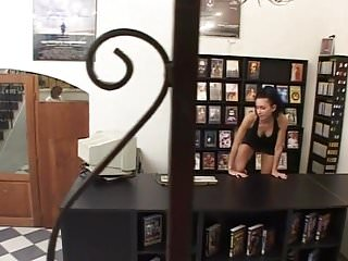 Vintage shopping bag - Sexy skinny brunette teen pissing in video shop