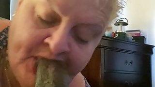 Granny deepthroat, gumjob and facial with 9 inch Black cock