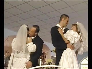Bride in lingerie fuck video - Foursome honeymoon for two brides