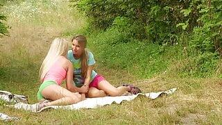 Teenage lesbian girls having fun outdoors - young girls