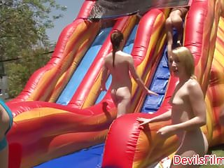 The lesbian sexparty Lesbians toying pussy in outdoor wam sexparty