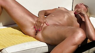 Tan Blonde Slut Ordered to Strip and Squirt in Public