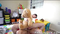 Young man moans as his daddy is banging his ass raw