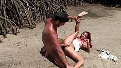 Hot Redhead Gets Rammed On Beach