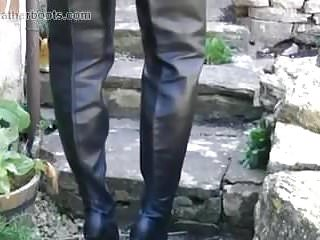 Gay porn boots and leather Kinky blonde smokes in leather boots and shows pussy upskirt