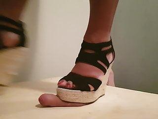 Milfs in wedge shoes Wedge heels crushing my cock