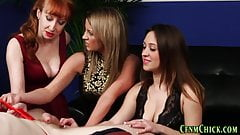 Classy clothed babes sucking