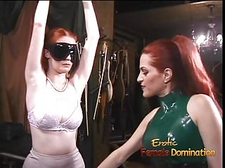 Latex clad trio 1 Latex-clad redhead wench has her way with a freckled ginger